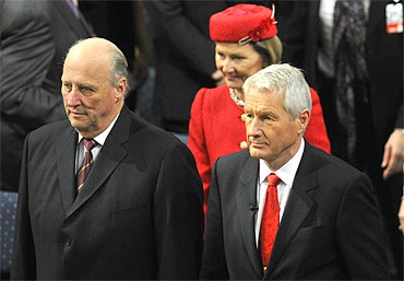 Norwegian King Harald, Queen Sonja and Nobel Committee chairman Thorbjorn Jagland at the ceremony