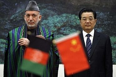 Afghan President with Chinese President Hu Jintao