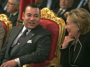 Morocco's King Mohamed VI with US Secretary of State Hillary Clinton