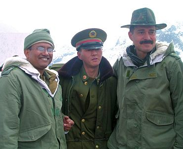 Indian Army officers with their Chinese counterpart at Nathu La