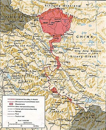 China, India western border depicting disputed areas in this sector, including Aksai Chin