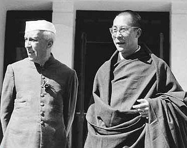 Nehru with the Dalai Lama