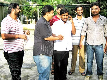 Udaya Kumar with Anubhav Kaviratna (left) and other friends at IIT-Bombay, July 15