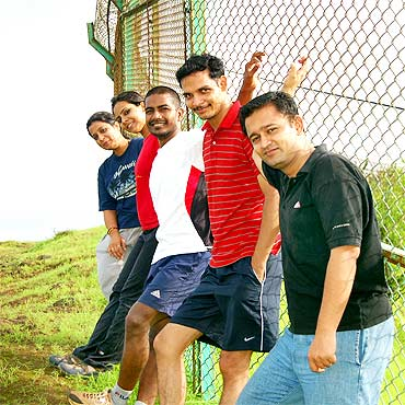 Udaya Kumar with his friends Rashmi, Deepti, Udaya, Amit and Anubhav (left to right)