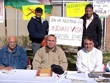 Indian American activists organise the 24-hour fast in Houston to protest Visa woes