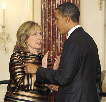 US President Barack Obama with Secretary of State Hillary Clinton