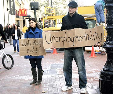 Two unemployed online journalists started a blog unemploymentality.com during the recession