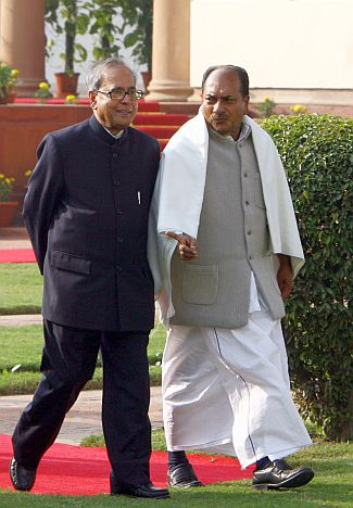 Party troubleshooters Pranab Mukherjee and A K Antony