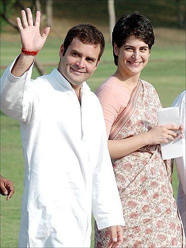 Rahul Gandhi with sister Priyanka Vadra