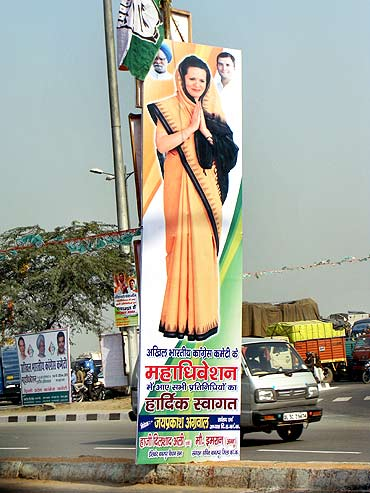 Hoardings of Congress president Sonia Gandhi have been put up across Burari