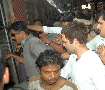 Rahul Gandhi takes a local train in Mumbai