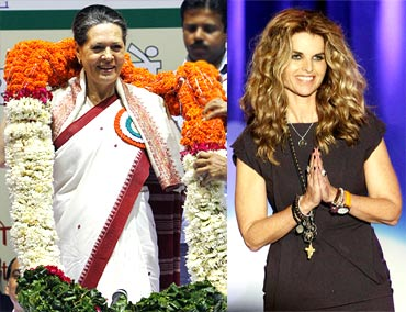 Congress president Sonia Gandhi and California First Lady Maria Shriver