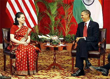 Sonia Gandhi with US President Barack Obama
