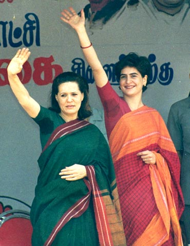 Sonia Gandhi with daughter Priyanka