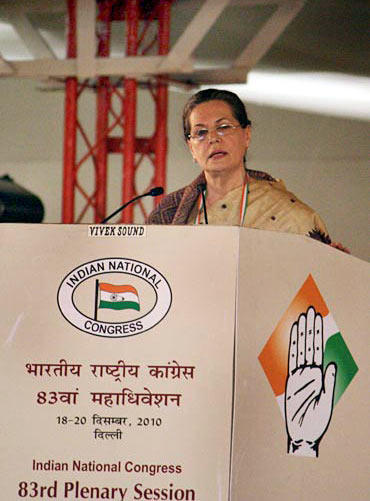 Sonia Gandhi at the Congress plenary