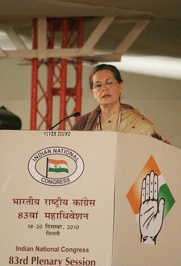 Congress President Sonia Gandhi speaks at the plenary session