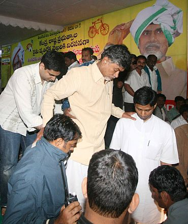 Many TDP leaders sat on the dais to guard their leader