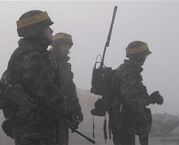 South Korean marines patrol on Yeonpyeong Island on December 20