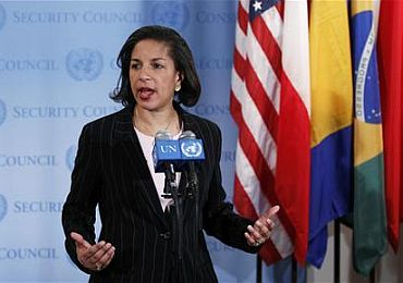 US ambassador to the UN, Susan Rice, speaks following an emergency meeting of the United Nations Security Council regarding tensions between North and South Korea at the UN Headquarters in New York