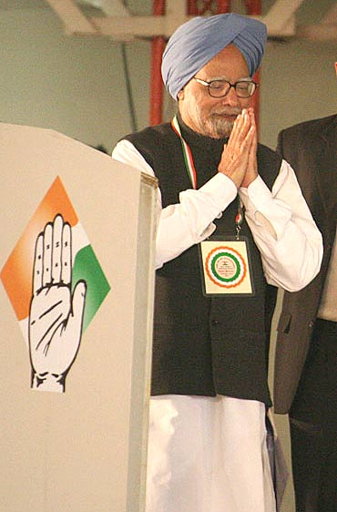 PM greets spectators on Day 2 of the Congress plenary meet in New Delhi on Monday