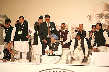 PM Dr Singh with other leaders at the plenary meet on Monday