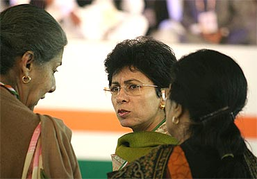 Minister of state for Urban Poverty Alleviation Kumari Selja (centre) with I and B minister Ambika Soni (left) and NCW chief Girija Vyas  (right) at the meet