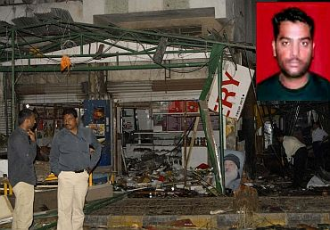 File photo of the German Bakery blast. (Inset) Mohsin Chaudhary