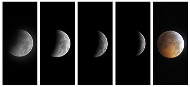 A combination of photographs show the gradual lunar eclipse ending with a total eclipse as seen over the skies in Great Falls, Virginia