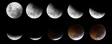 A combination of photographs shows the gradual lunar eclipse ending with a total eclipse as seen over the skies of Mexico City