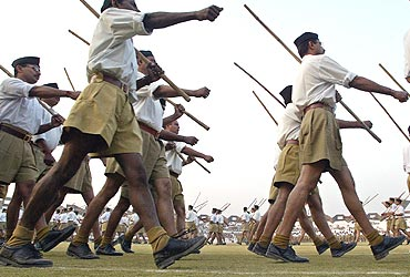 RSS workers at a camp