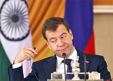 President Medvedev attends a joint news conference with PM Singh in New Delhi on Tuesday