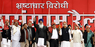 NDA leaders during a protest in New Delhi
