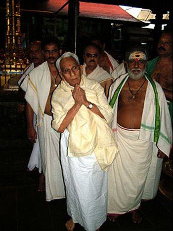 Karunakaran at the Guruvayoor temple