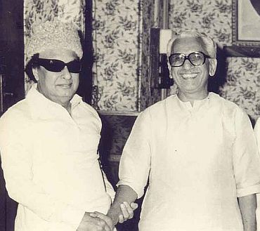 A file photo of Karunakaran with former Tamil Nadu chief minister M G Ramachandran