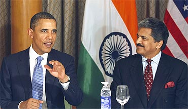 Obama with Mahindra and Mahindra Ltd Managing Director Anand Mahindra