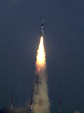 The GSLV blasts off carrying the communication satellite GSAT- 5P from the Satish Dhawan space centre in Sriharikota