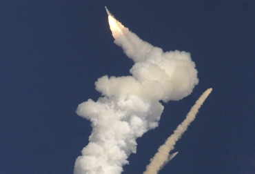 The GSLV carrying the communication satellite GSAT- 5P explodes mid-air, moments after it took off from Satish Dhawan space centre in Sriharikota