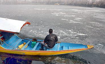 A freezing Dal lake in Srinagar