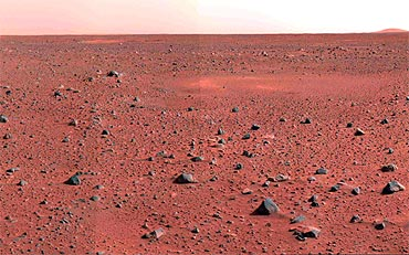An image taken by the Mars Exploration Rover Spirit's panoramic camera