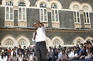 President Obama at the townhall at St Xavier's College, Mumbai November 7