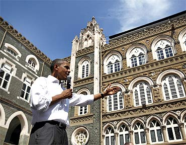 Obama was introduced by his wife Michelle before the townhall in Mumbai