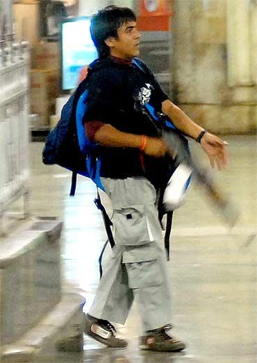 Pakistani terrorist Ajmal Kasab at CST in Mumbai