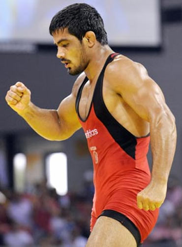 Triumphant wrestler Sushil Kumar at the Beijing Olympics