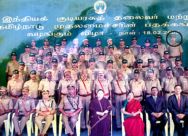 Vetrivel (encircled) and the Special Task Force with then Chief Minister J Jayalalithaa