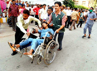 Patients being carried out