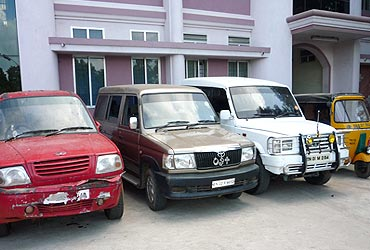 The seized vehicles in police possession