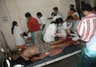 An injured victim being treated at a Pune hospital