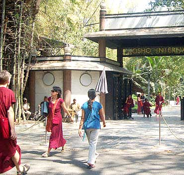 The main gate of the Osho Ashram located at lane number 1 in Koregaon Park, Pune