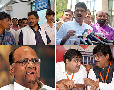 (Clockwise, from top left) Ramdas Athavale, Bala Nandgaonkar, Nitin Gadkari with Gopinath Munde, and Sharad Pawar in Pune after terror struck
