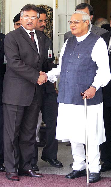A file photograph of then Pakistan president Pervez Musharraf with former prime minister Atal Bihari Vajpayee in New Delhi in 2005